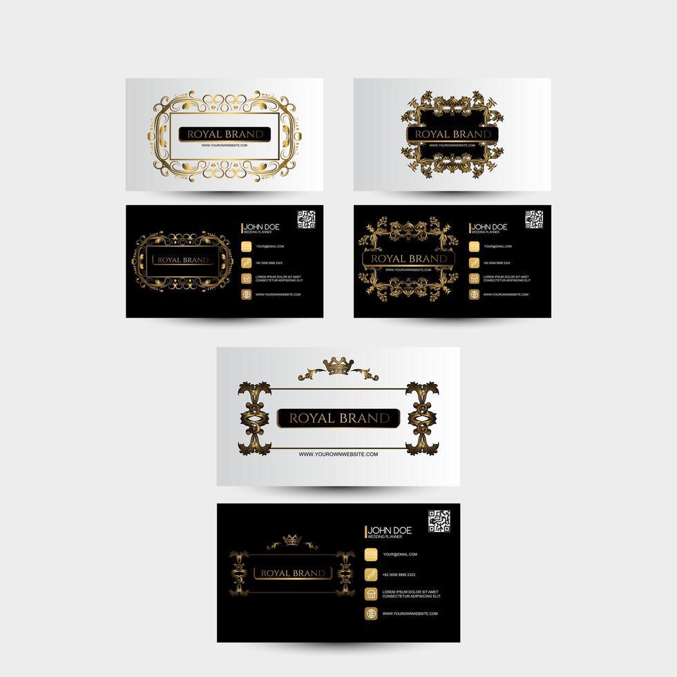 vintage stijl visitekaartje set met gouden ornamenten vector