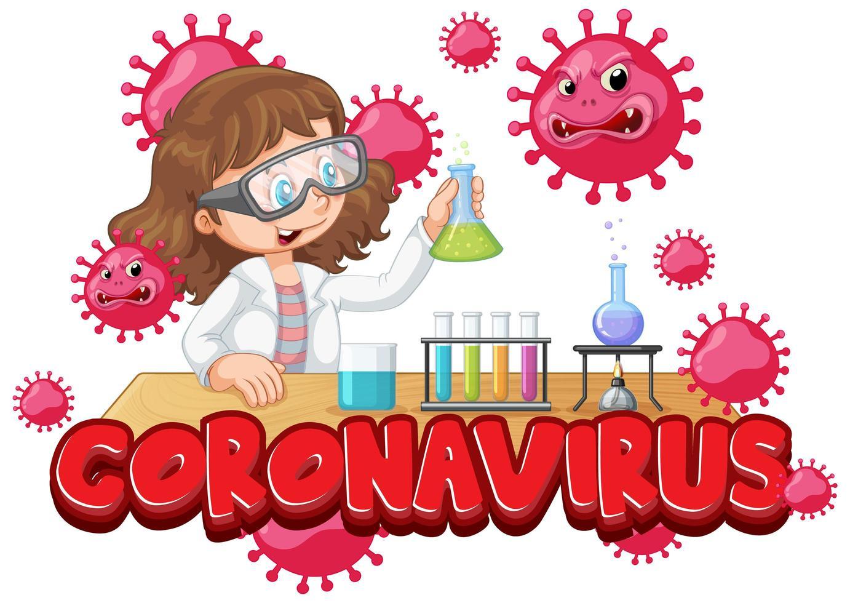 meisje experimenteert op coronavirus in het lab vector