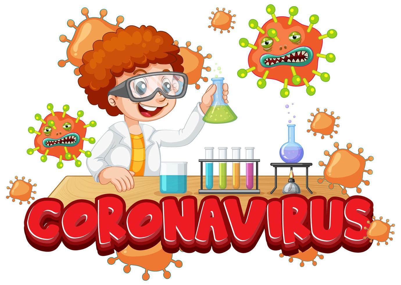 jongen experimenteren op coronavirus in wetenschappelijk laboratorium vector