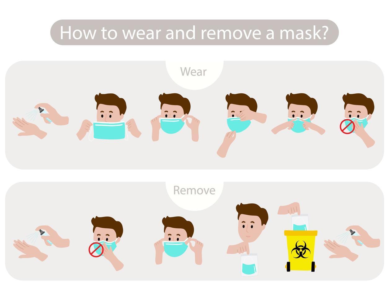 man die toont hoe het masker te dragen en te verwijderen vector