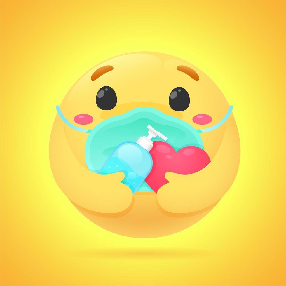 gele emoji met gezichtsmasker en handdesinfecterend middel vector