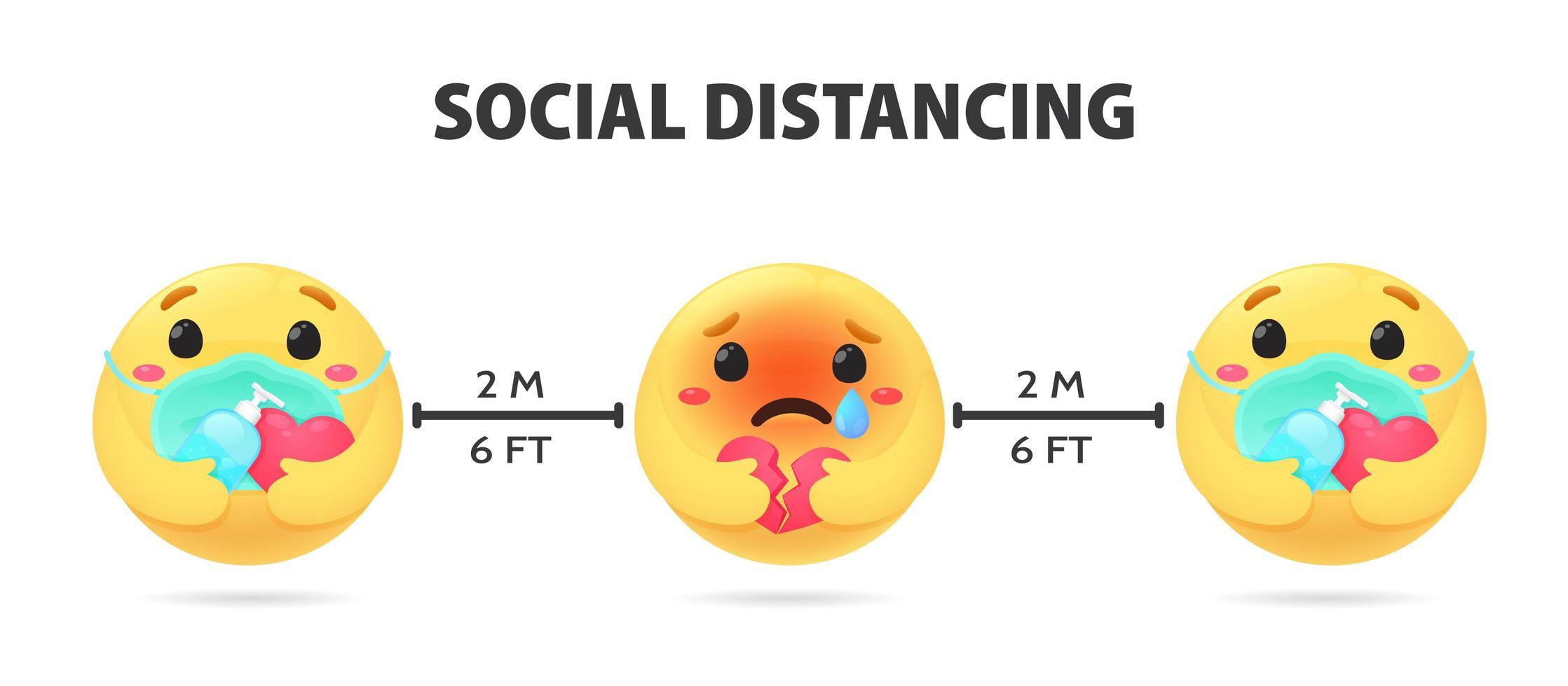 sociale afstandelijke emoji's op afstand van elkaar en angstig vector