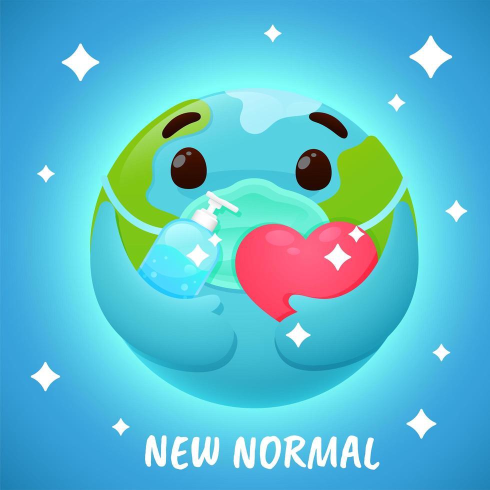 '' nieuwe normale '' wereldbol met gezichtsmasker en ontsmettingsmiddel vector