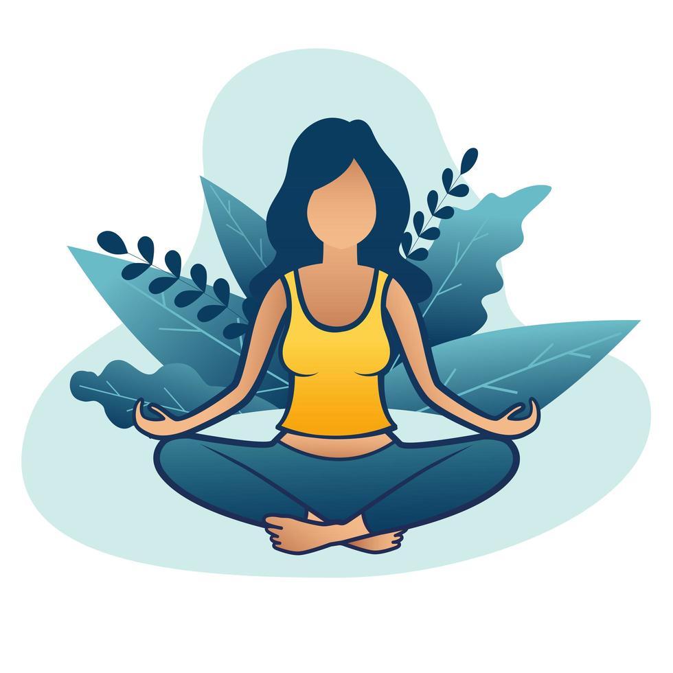 vrouw doet meditatie of yoga in de natuur en bladeren vector