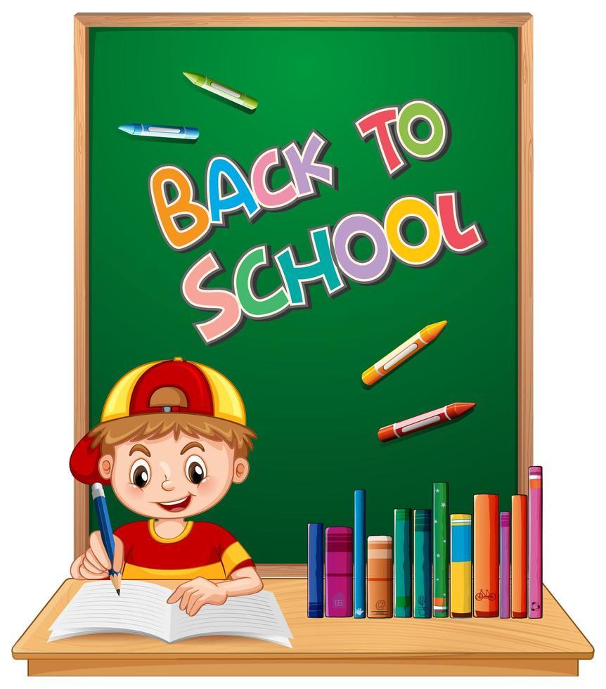 '' terug naar school '' sjabloon met jongen vector