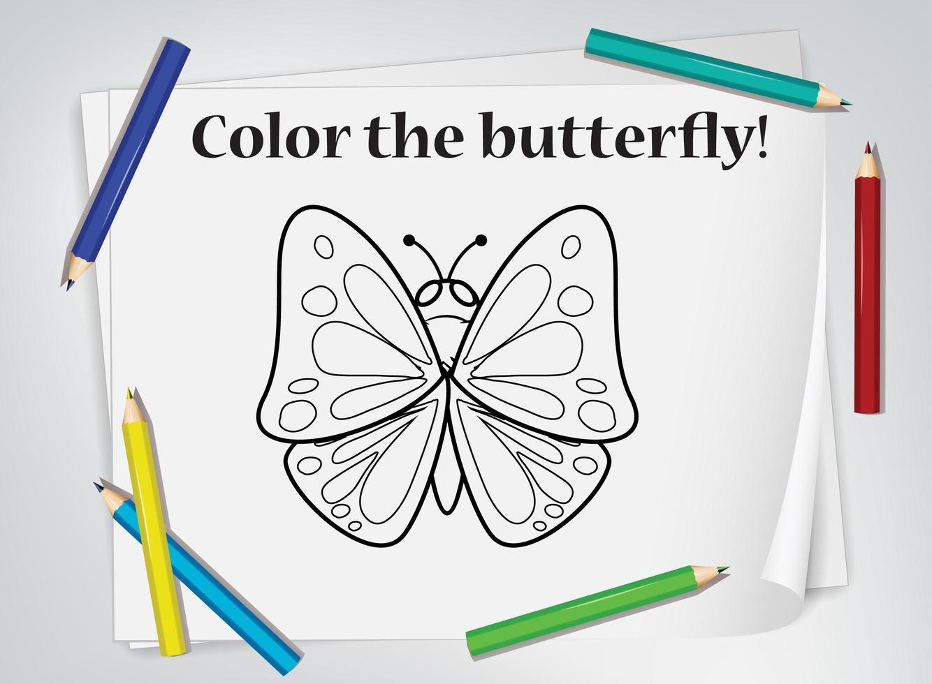 vlinder kleurend werkblad vector