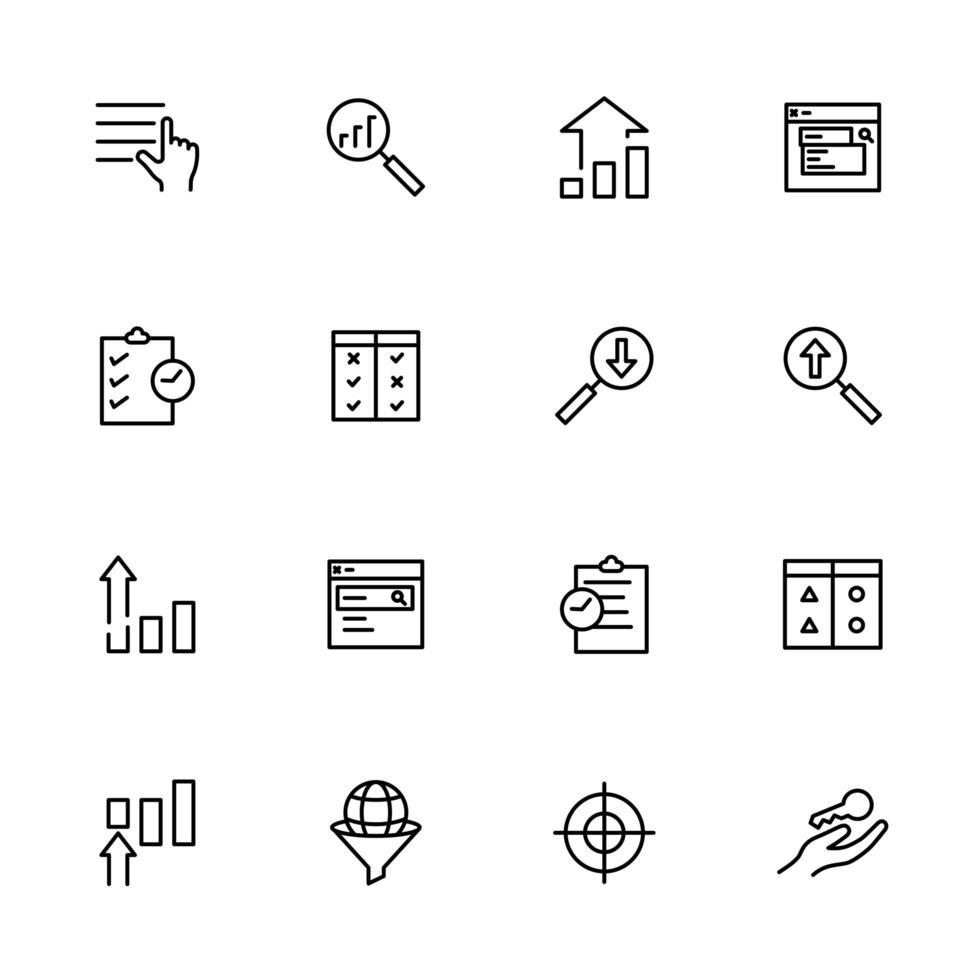set lijn iconen voor zoekmachine optimalisatie vector