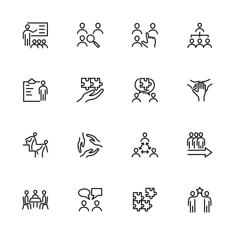 set van lijn iconen voor teamontwikkeling vector