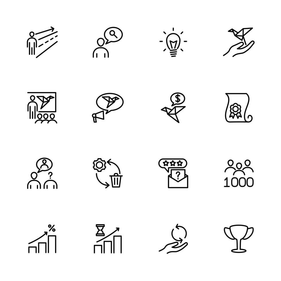 set lijn iconen voor het opstarten van startmethode vector