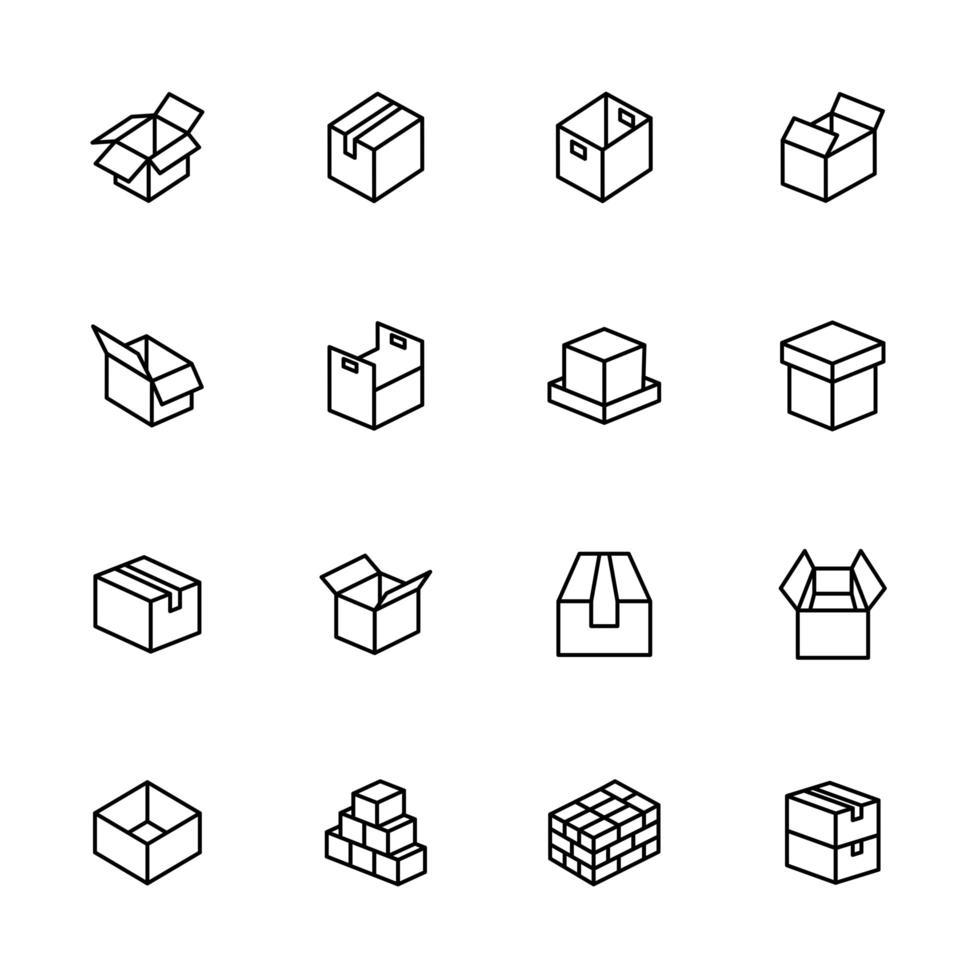 lijn icon set van kartonnen dozen vector
