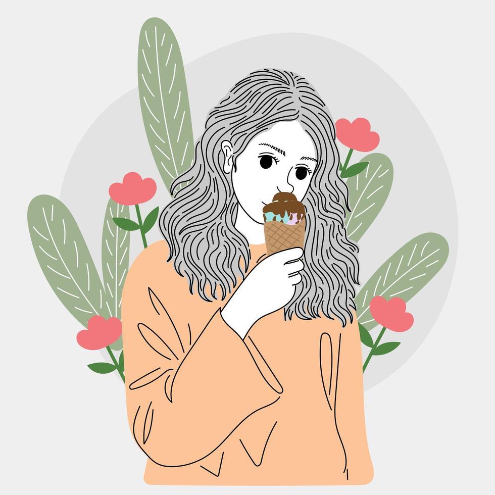 vrouw ijs eten vector