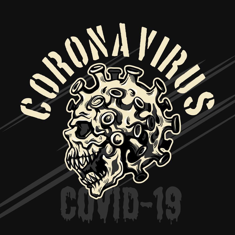 illustratie coronavirus schedel embleem vector