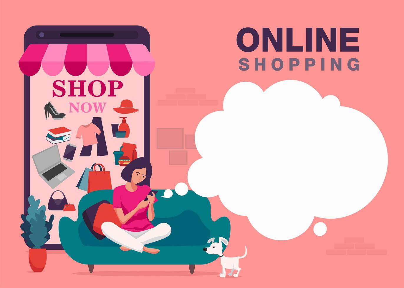online smartphone winkelen banner vector