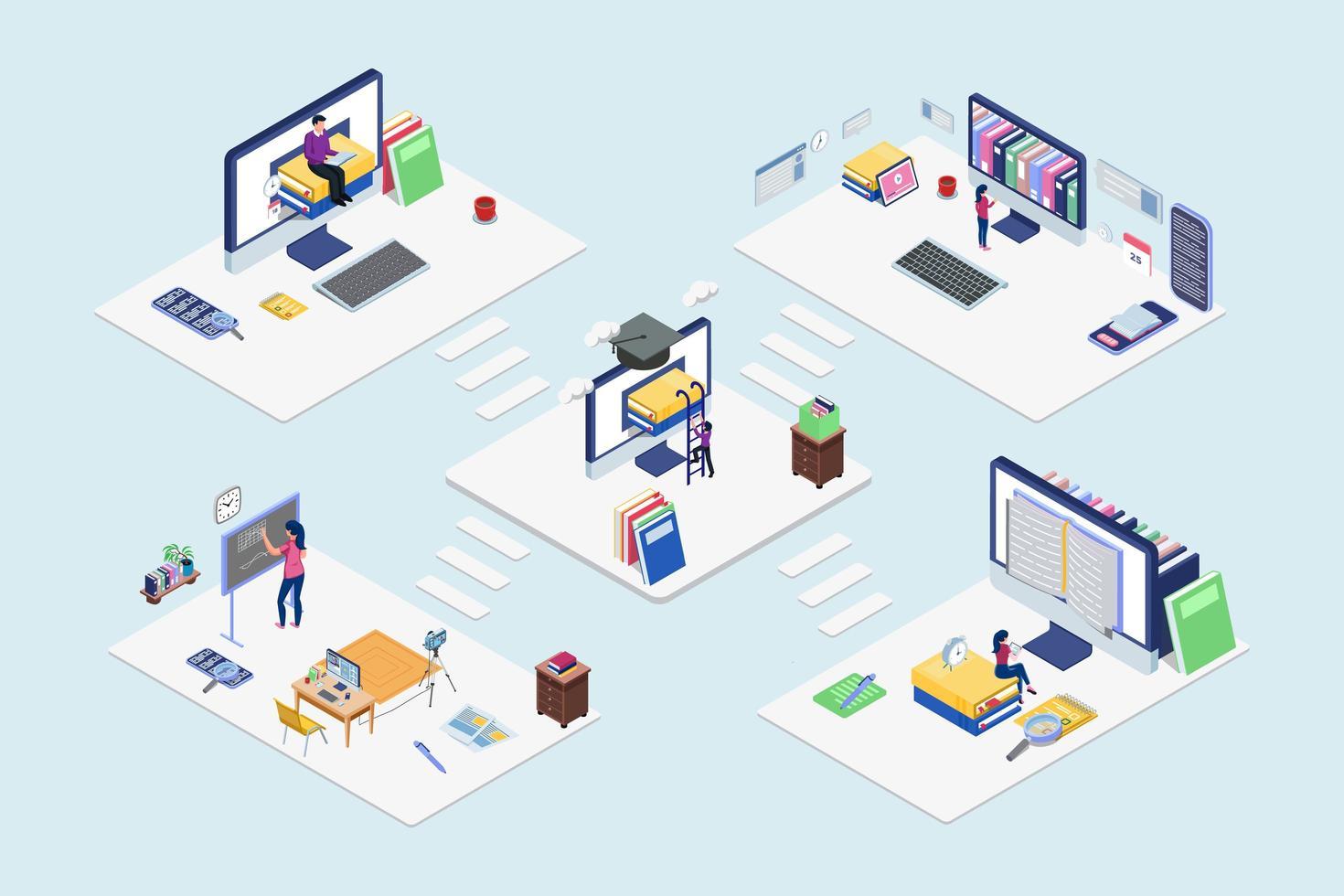 isometrische online onderwijstechnologie blockchain set vector