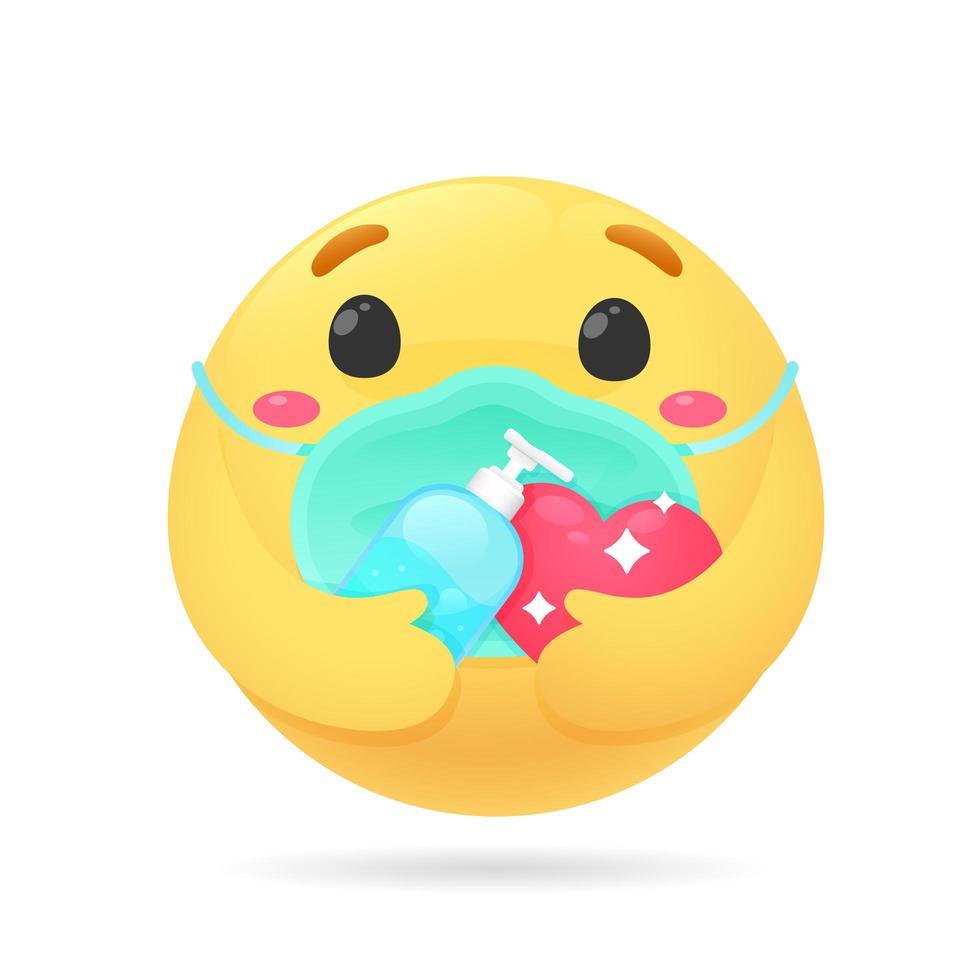 emoji met alcoholgel om handen te wassen vector