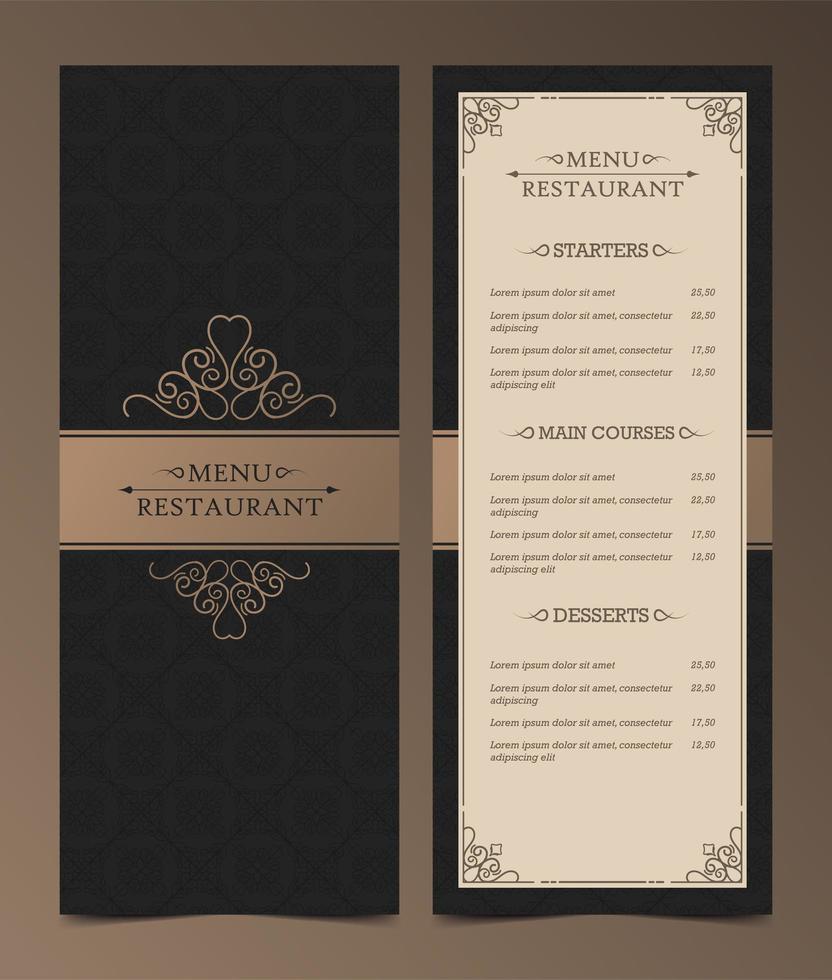 vintage donkere menu-indeling vector