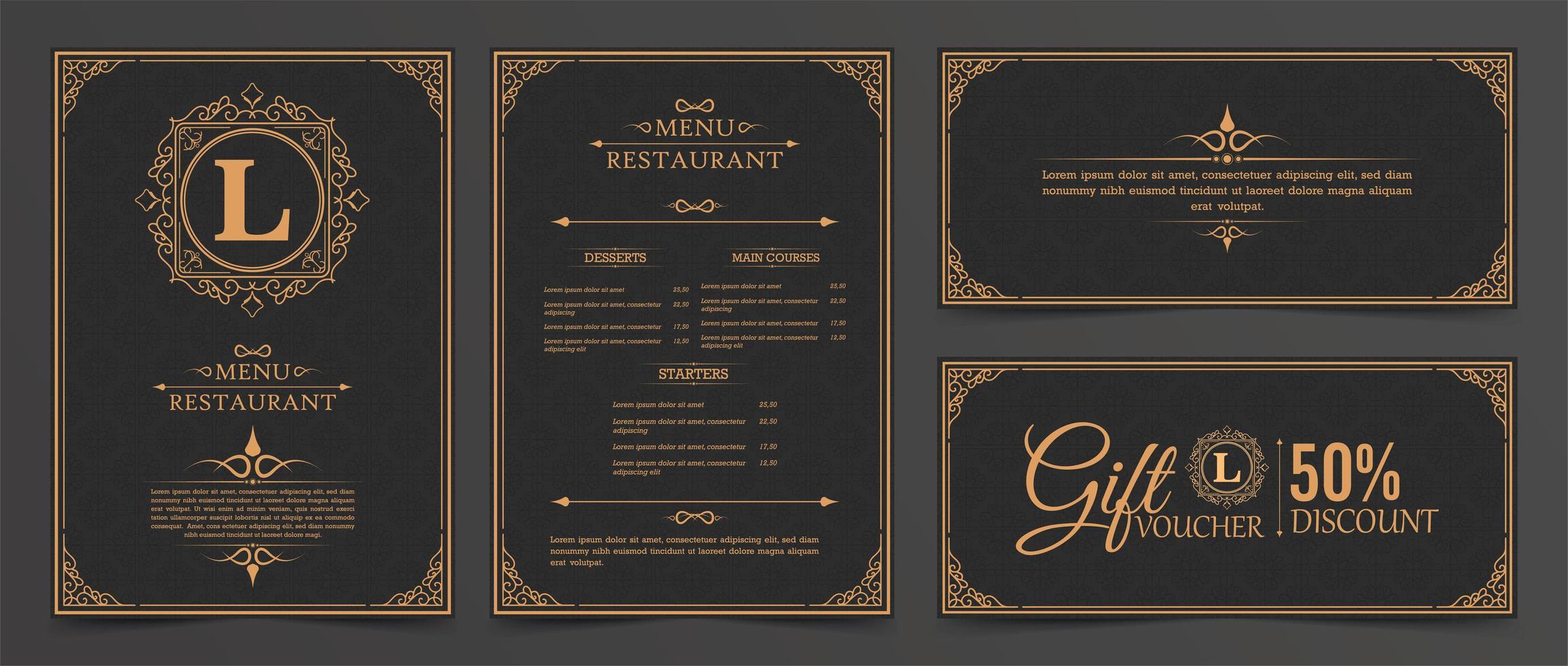 menu-indeling met ornamenten vector