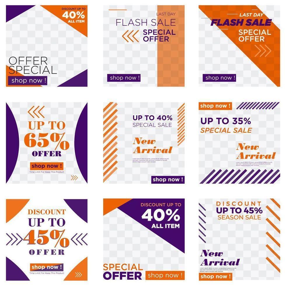 oranje en paarse verkoop social media post set vector