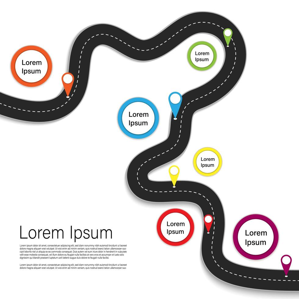 kronkelende weg infographic met kleurrijke pictogrammen vector