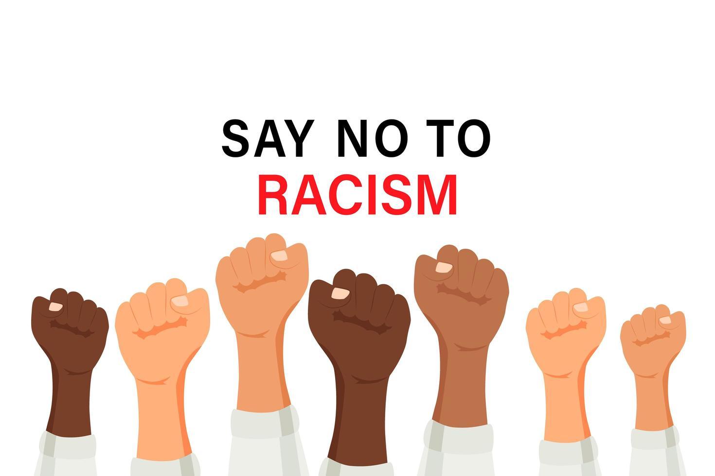 zeg nee tegen racisme poster met multiraciale opgeheven armen vector