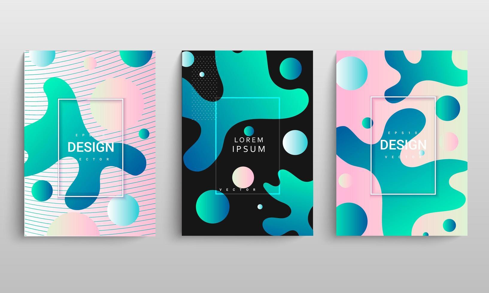 moderne gradiënt vloeiende vorm cover set vector
