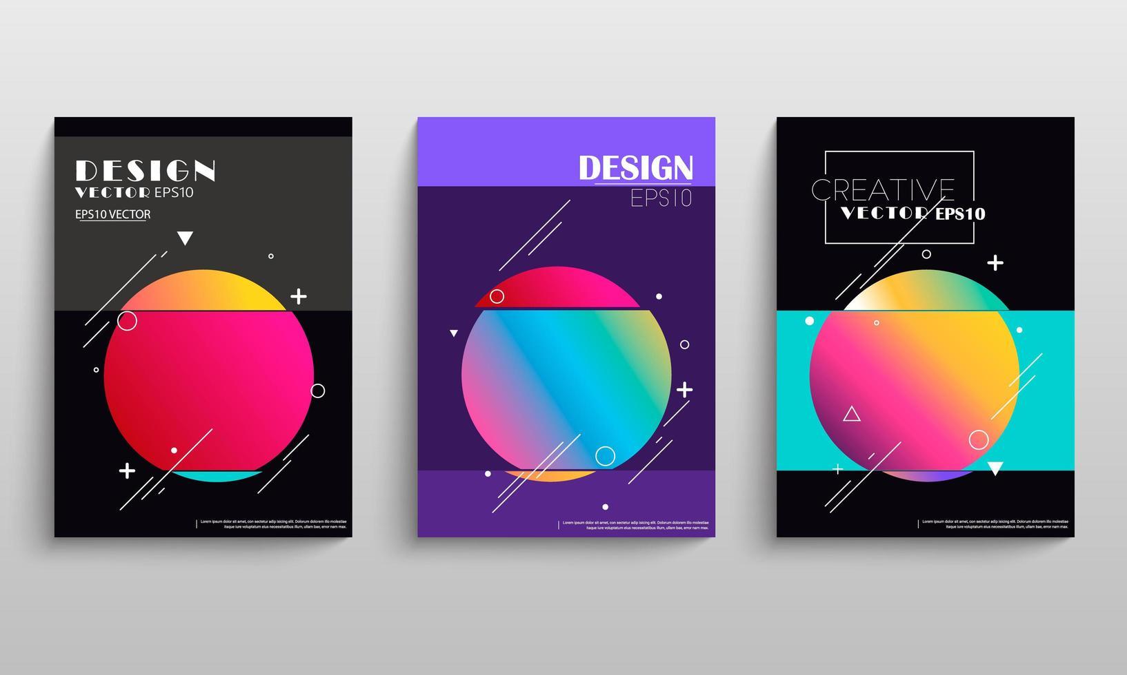 geometrische gradiënt cirkel cover set vector