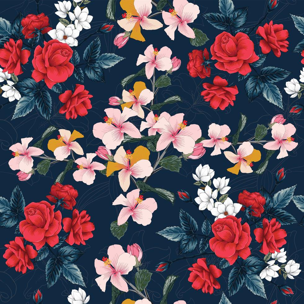 hibiscus, witte magnolia en leliebloemen vector