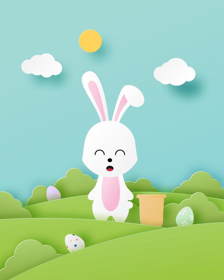 papierkunst Pasen poster met konijn op jacht naar eieren vector