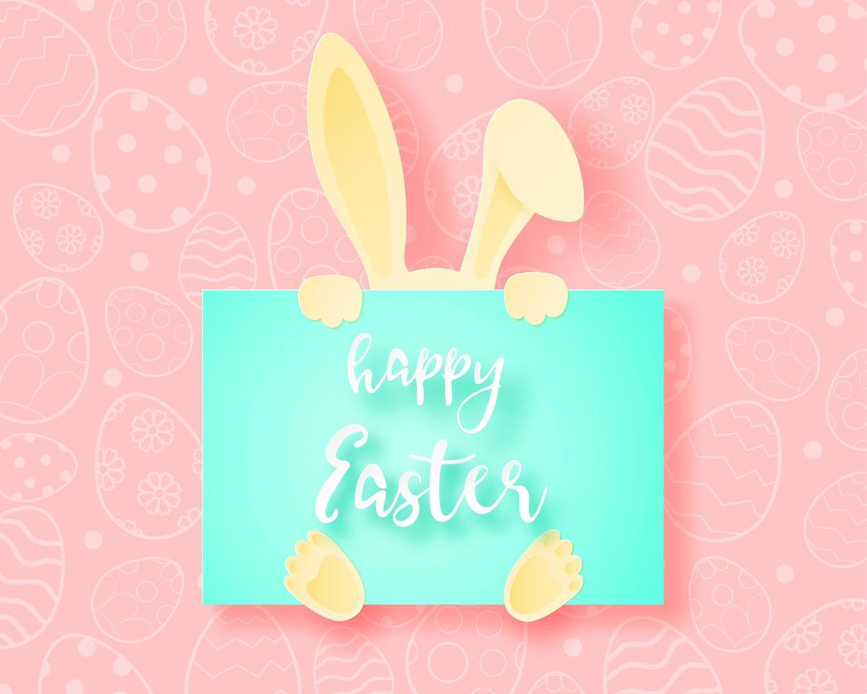 papier kunst konijn verstopt achter vrolijk Pasen kaart vector