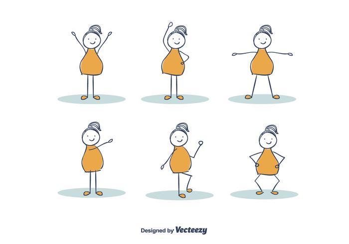 Hand getekend meisje oefenen vector