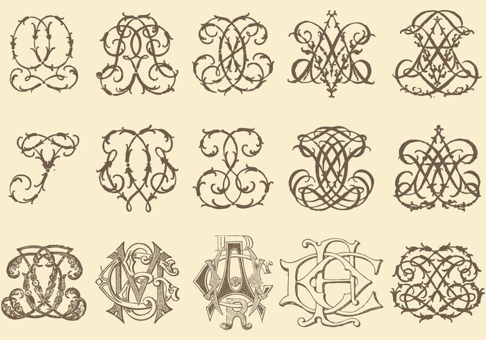Oude Monogrammen vector