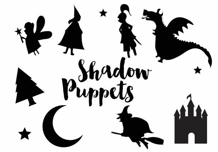 Silhouet pictogram set van de schaduw marionet vector
