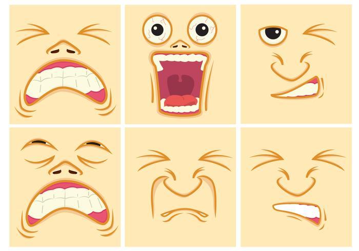 Pijnuitdrukking gezichten vector