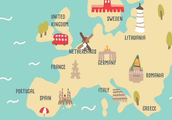 Naive Map uit Holland vector