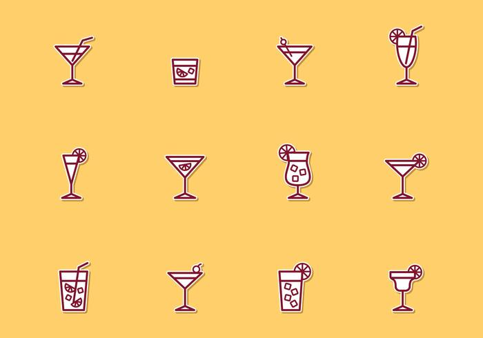 Cocktail Dun Line Icons vector