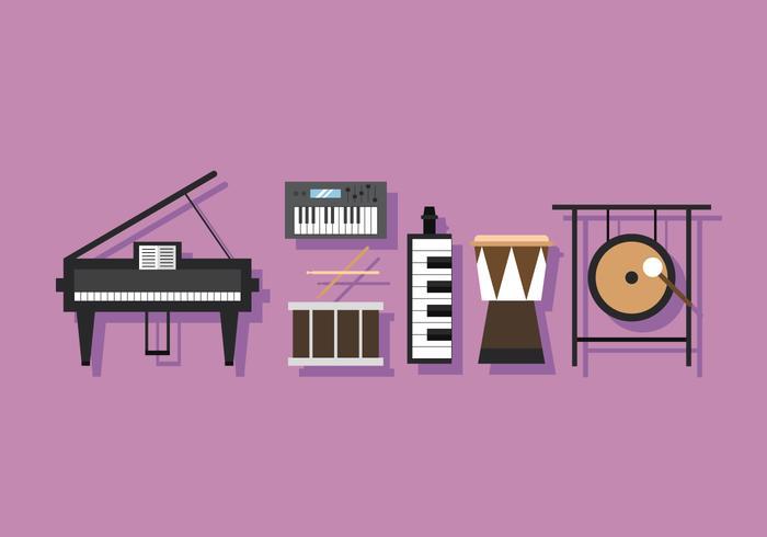 Vector muziekinstrument percussie en sleutels