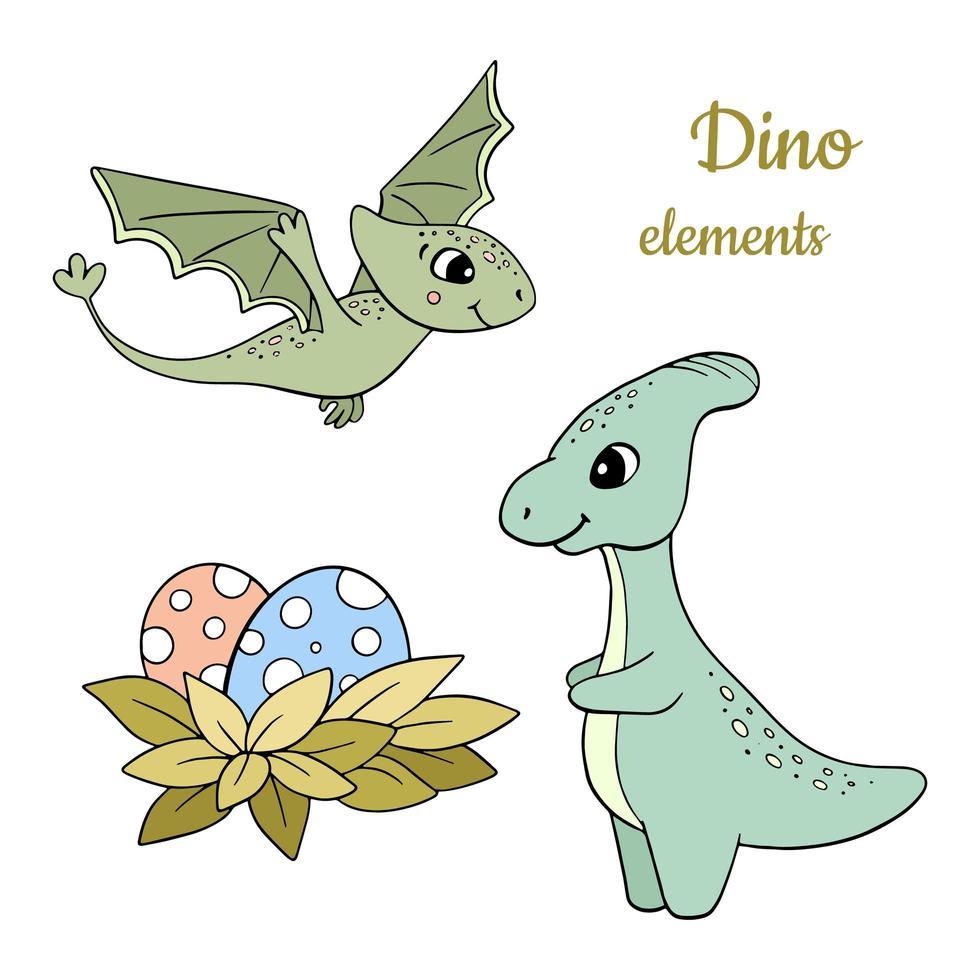 hand getrokken dinosaurussen set vector