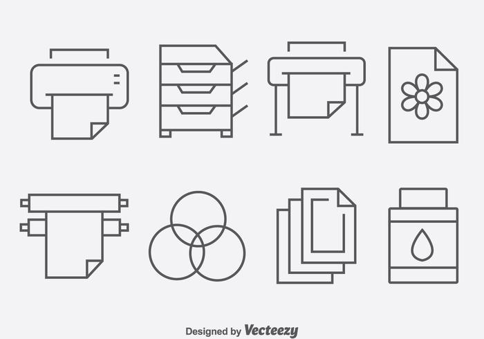 Vector-pictogrammen voor het afdrukken van gereedschap vector