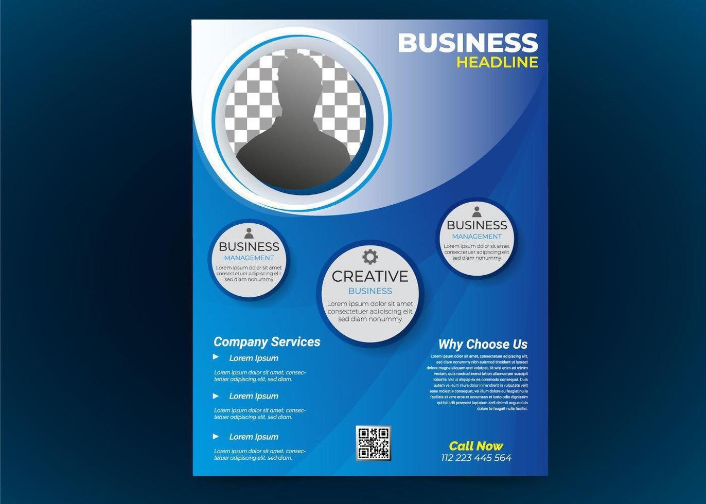 blauwe zakelijke flyer met fotolijst vector