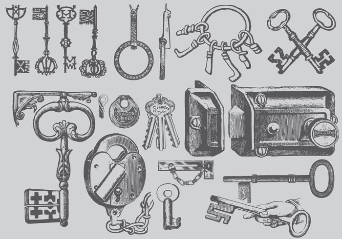 Vintage sleutel tekeningen vector