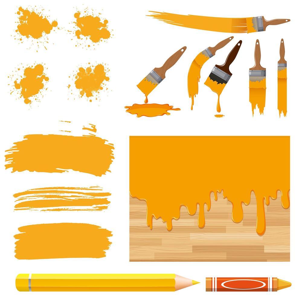 set van aquarel in geel met borstels vector