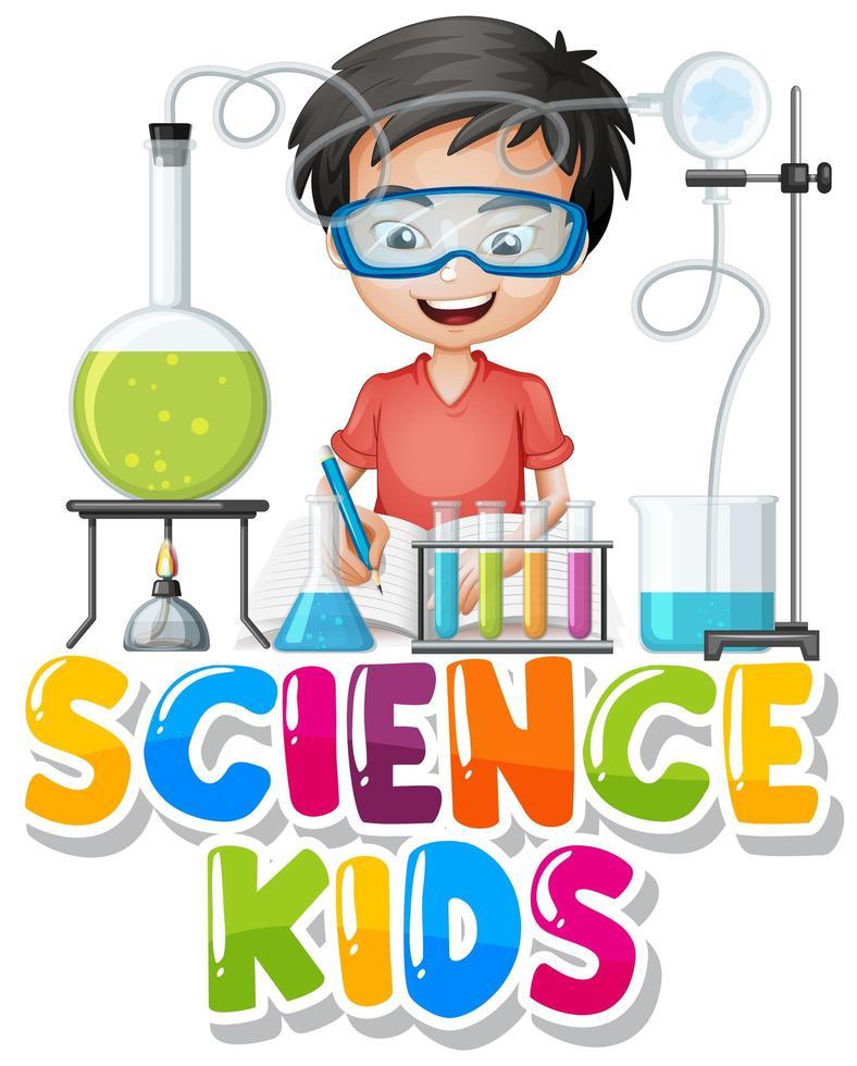 lettertype ontwerp voor woord wetenschap kinderen met jongen in science lab vector