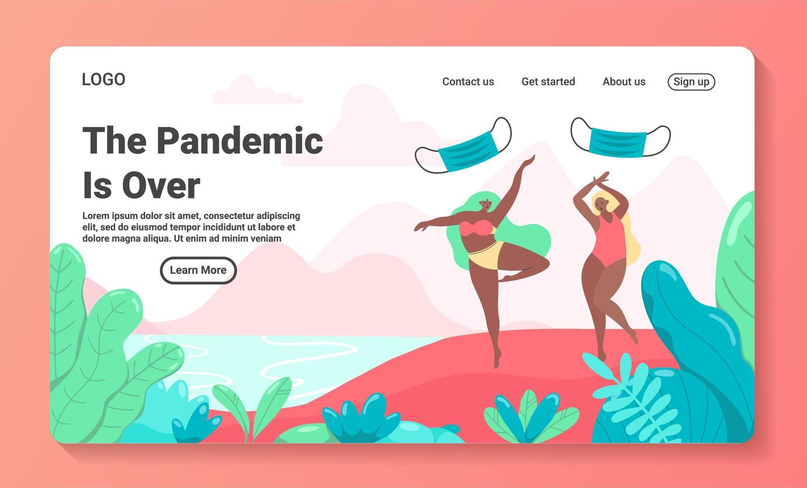 pandemie is voorbij concept bestemmingspagina sjabloon vector