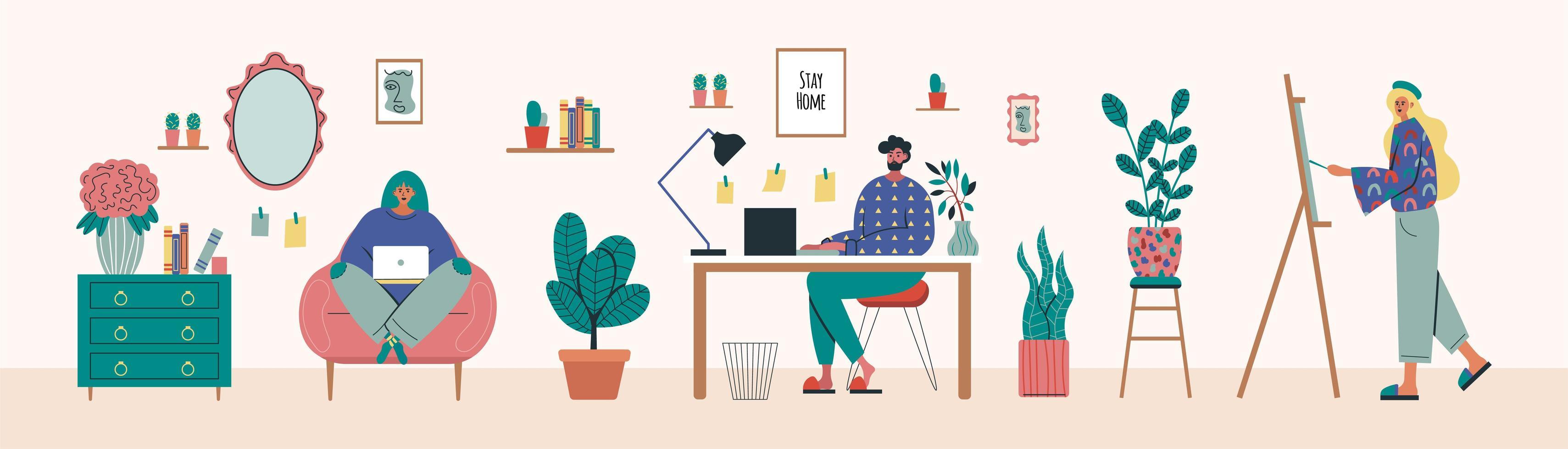 freelancekunstenaars die thuis werken vector