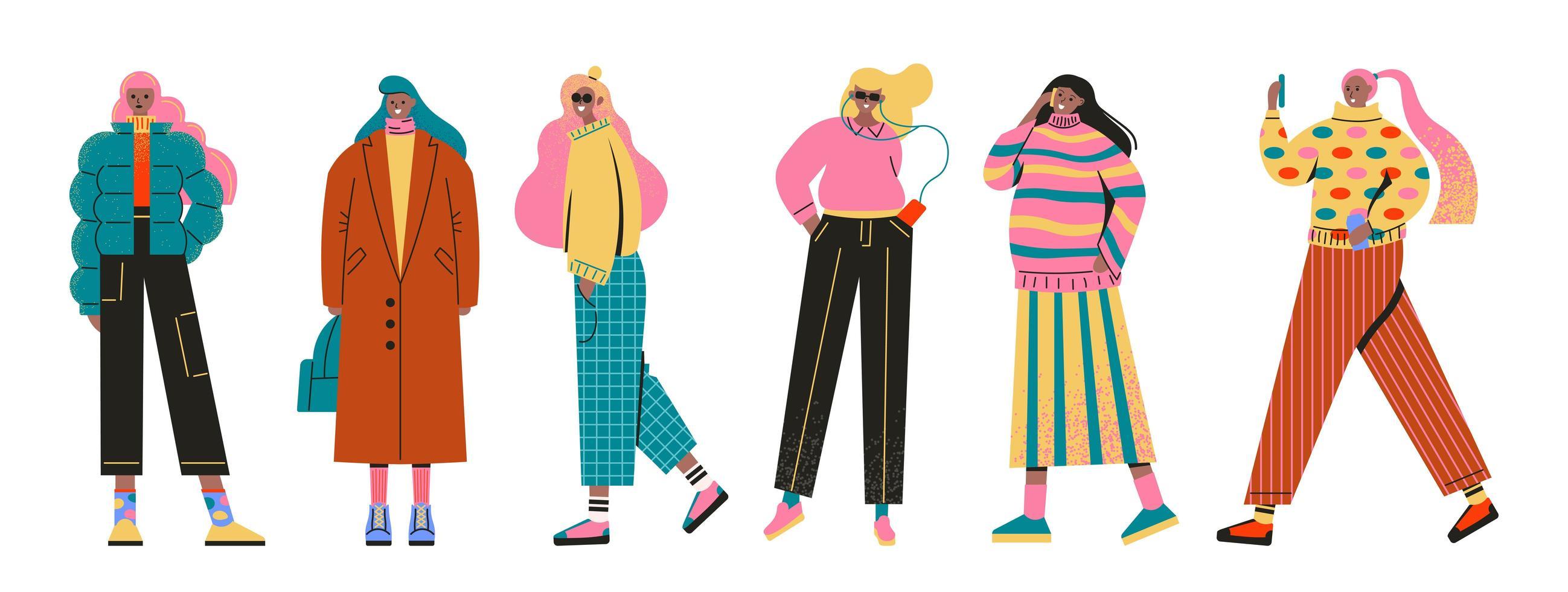 set van jonge vrouwen meisjes gekleed in trendy kleding vector