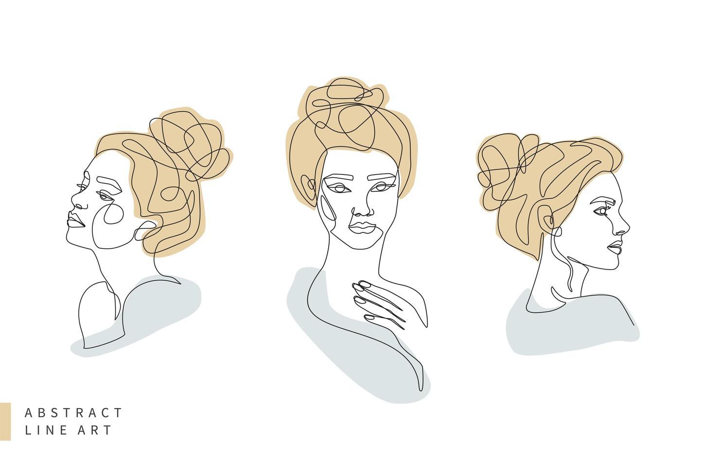 abstracte minimale vrouw gezicht lijntekeningen set vector