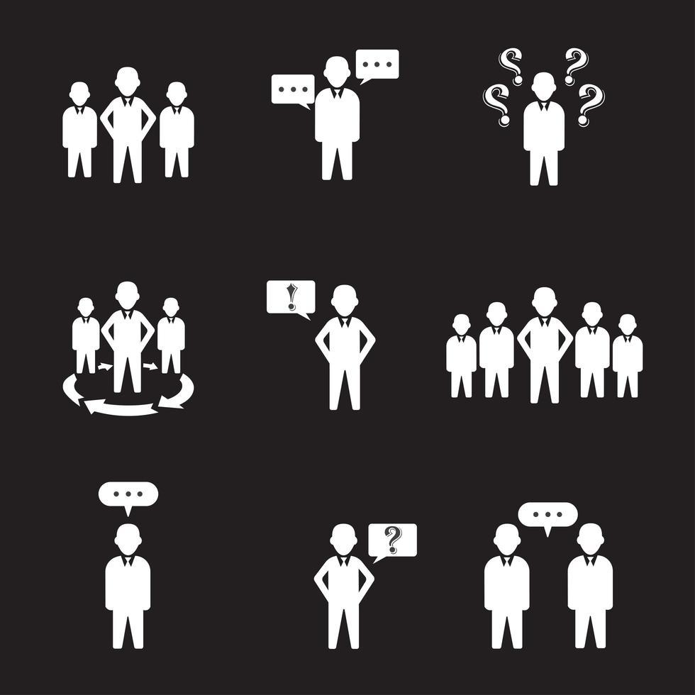 set van 9 eenvoudige mensen en groepspictogrammen vector