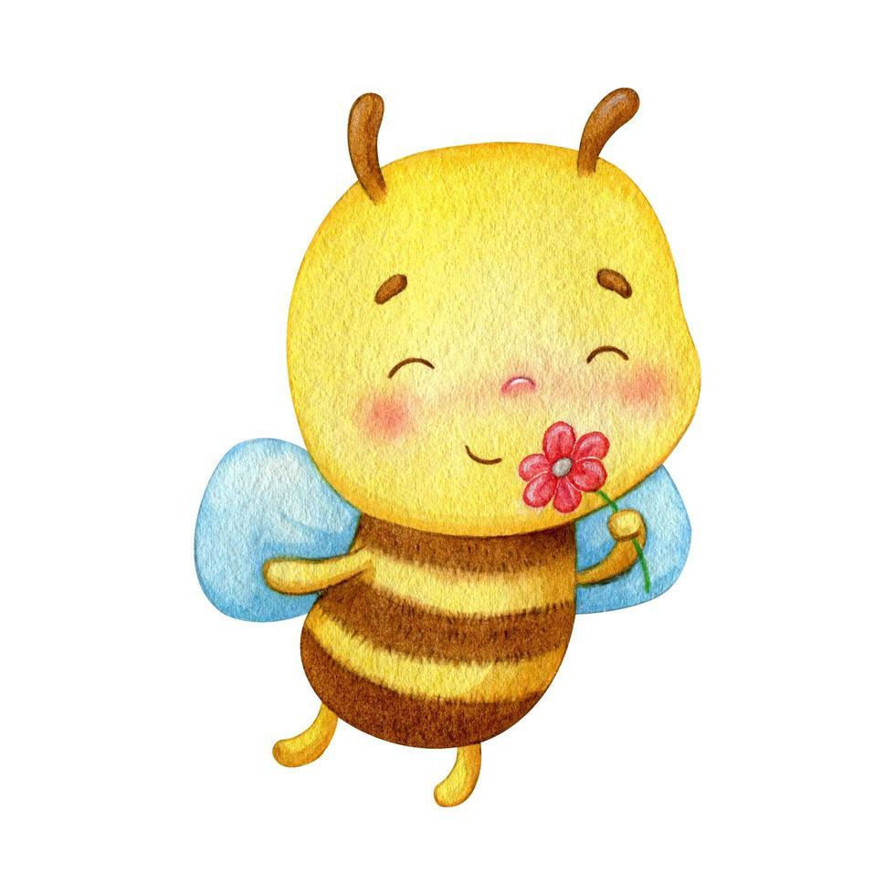 aquarel bijen ruiken een bloem vector