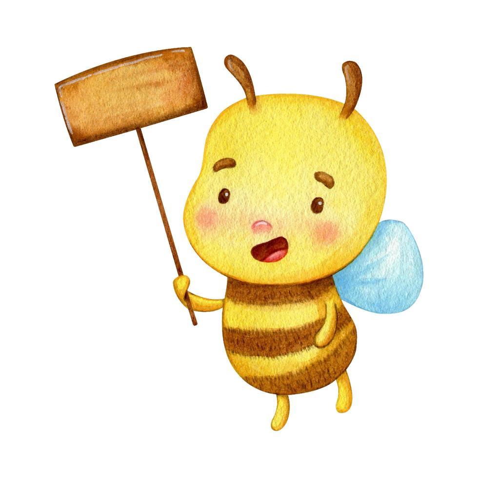 aquarel bijen houden een teken vector