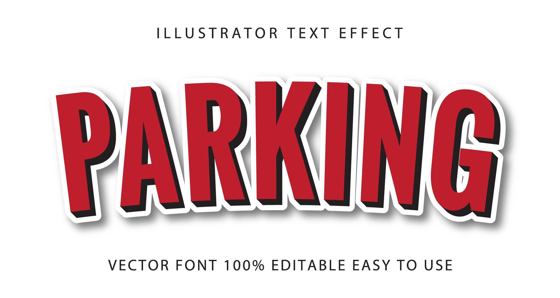 parkeren rode, witte contour tekst effect vector